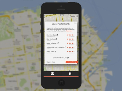 Neighborhood Discovery App mobile ios app ui ui design google maps san francisco nearby maps