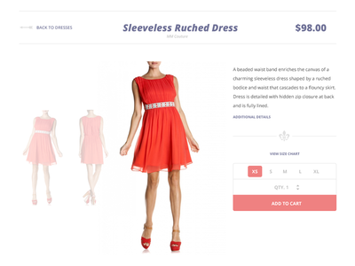 Product Page ecommerce product page dress size picker add to cart user interface ui open sans quantity