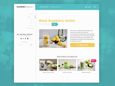 Ecommerce Product Page ecommerce product page candles cart add to cart ui gotham merriweather