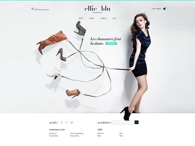 Ellie Blu Homepage fashion shoes website visual design brand landing page ecommerce