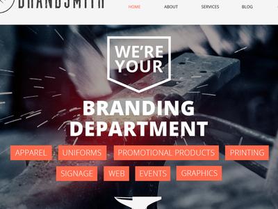 Brandsmith Landing Page typography brand grungy landing page branding blacksmith product page gritty background photo anvil web design
