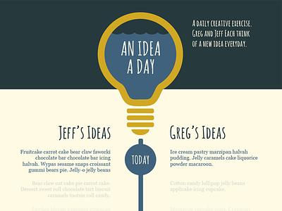 An Idea A Day ideas flat design lightbulb water waves amatic georgia timeline single page website