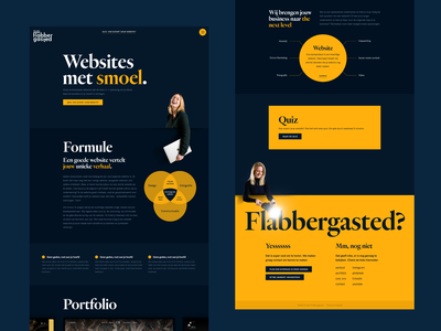 Studio Flabbergasted - Homepage agency website webflow dark design dark ui dark blue yellow infographic quiz footer portfolio site agency home page homepage home