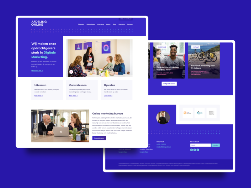 Redesign Afdeling Online portfolio related cases featured cases call to action hero image heroimage footer freelancedesign freelancedesigner visual design figma blue and white blue agency agency website onlinemarketingagency desktop uxdesign uidesign webdesign