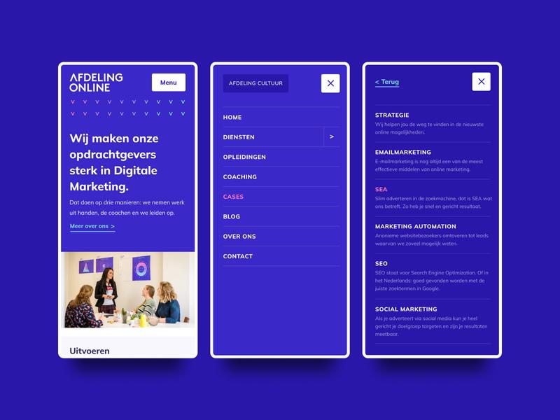Mobile Menu overlay menu close menu blue and white blue agency agency website multi level navigation mobile navigation mobile menu mobile design mobile ui mobile