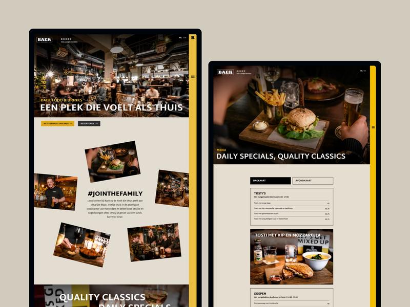 Baek Food & Drinks | Restaurant Website foodfotography restaurant photography photography drinks food uxdesign uidesign menu design menu webflow webdesign restaurant website restaurant branding restaurant