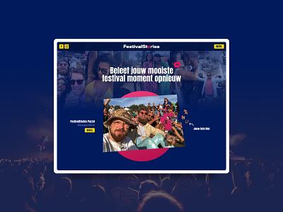FestivalStories puzzle anton font festival uidesign ui webdesign pink yellow blue
