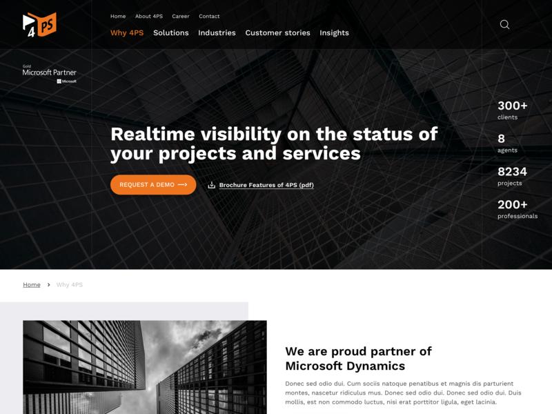 Why 4PS freelance webdesign page header search menu usp brochure download numbers orange construction software ux ui dark