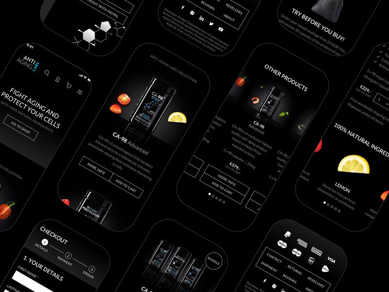 Dark Design Ecommerce holland netherlands rotterdam ux ui fruit antiaging black mobile mobilefirst digitaldesign webshop ecommerce freelancedesigner freelancer darkdesign dark