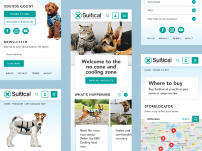 Suitical - Welcome to the no cone zone social media product slider white suitical slider storelocator footer turquoise blue mobilefirst newsletter cat dog pets cats dogs uxdesign uidesign webdesign mobile