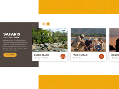 Safari Slider hover mouseover freelance digitaldesign webdesign uidesign brown yellow pattern animation motion slider safaris sketch principle