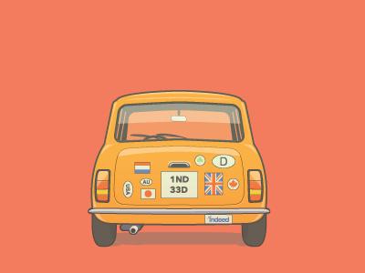Vintage Mini Cooper indeed mini cooper bumper stickers vector illustration