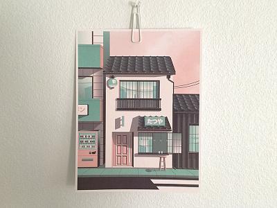 Tokyo Street Print reflection shadows street illustration tokyo print