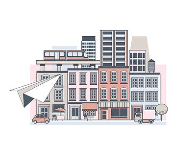 City train buildings cars plane paper illustration city