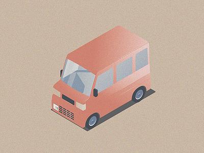 Kei Car texture reflection isometric illustration car kei