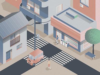 City Scene tree tokyo japan isometric texture train building car illustration city