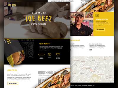 Joe Beez Homepage   web design black yellow interactive ux ui subs restaurant food deli website branding