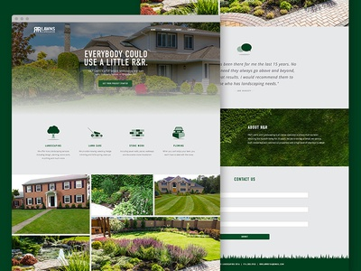 R&R Lawns and Landscaping Website web design rr lawns lawn care graphic design website landscaping kingston interactive branding