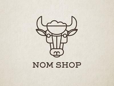 Nom Shop Logo fast casual restaurant asian illustration lines bowl oxen ox rice food