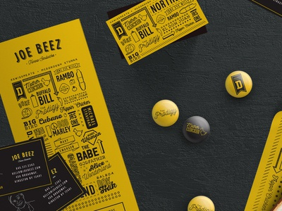 Beez Collateral upstate ny subs business cards pins restaurant deli food menu