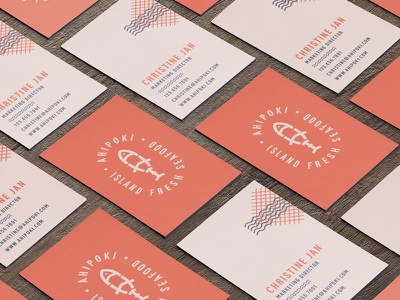 Ahi Business Cards surf patter hawaii california restaurant food fish red business cards ahi poke