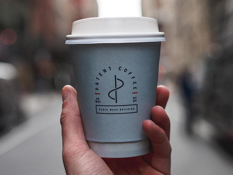 Patent Coffee Cup monogram radio wave patent restaurant nyc cup badge coffee