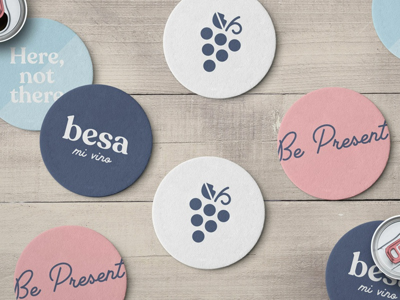 Besa Coasters california coasters food and drink drink beverage wine logo identity branding food