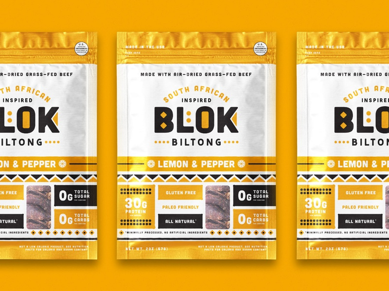 BLOK Packaging south african snacks food and beverage food and drink protein biltong beef beef jerky packaging identity illustration branding food