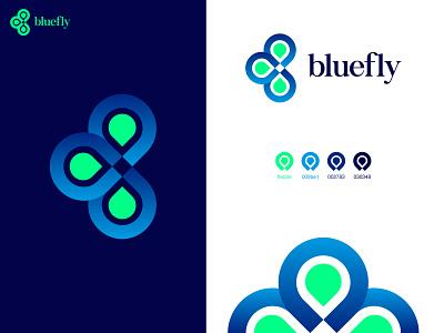 bluefly elegant butterfly gradient beautiful abstract logo 2020 trend modern logo2020 abstract clothing brand adobe illustrator logotype logo design flat design branding minimal logodesign logo logo mark