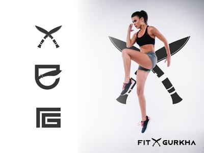 Fit Gurkha fitness logo dribbble best shot apparel logo weapon khukuri sport monogram fitness abstract icon logo design logotype flat design branding logodesign minimal logo logo mark