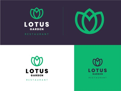 Lotus Garden Restaurant simple creative restaurant logo lotus logo lotus abstract adobe illustrator design branding logodesign minimal logo logo mark