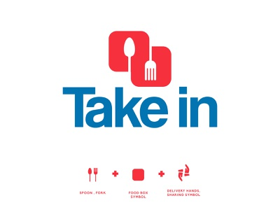 take in ; food delivery app brand design logo brand logomarca food delivery creative food logo food logo ideas spoon fork logo food delivery app logo flat design branding logodesign minimal logo logo mark