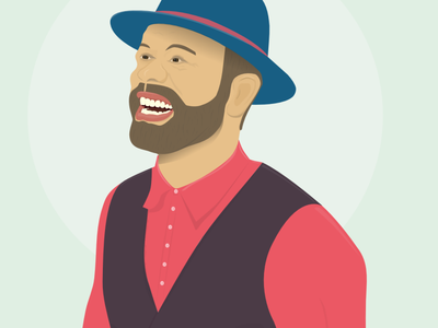 Happy guy in a hat illustration vector vector graphics vector illustration