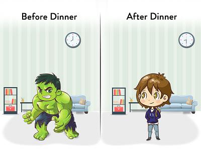 Before and after having dinner! graphic design creativity digital art vector illustration design