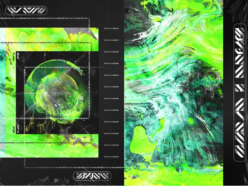 Rayn x Nishe abstract art abstract poster design surreal iridescent chromatic chrome typeface type texture collage art collage gradient color gradient adobe illustrator adobe photoshop adobe vector design illustration