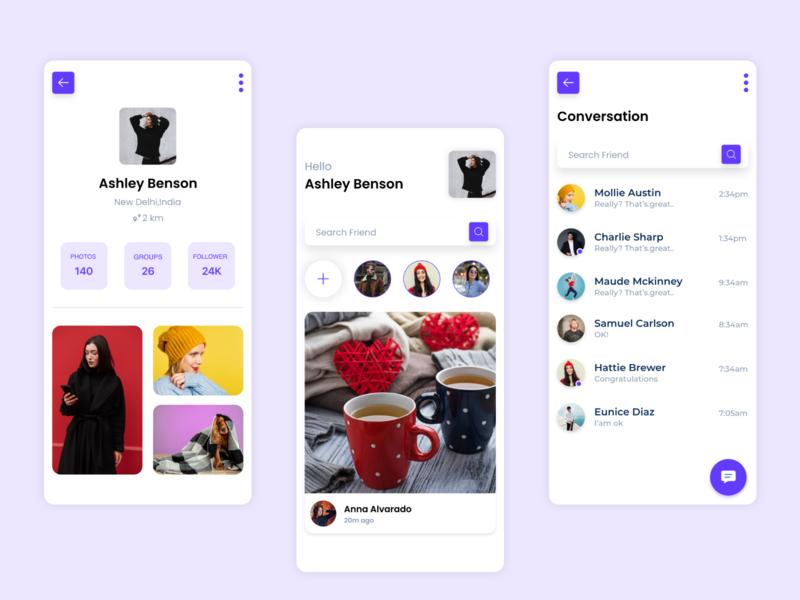 Social App UI social app ui social app ui ux app user interface inspiration design
