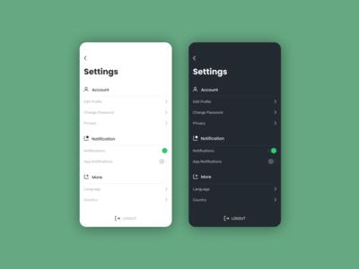 App UI - Settings Screen