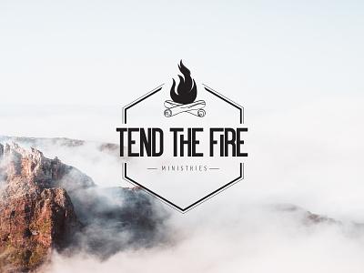 Tend the Fire Logo outdoor mountains mountain men christian non-profit ministry vector design logo branding
