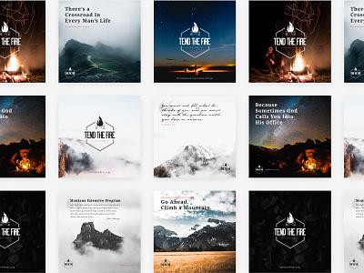 Tend the Fire Promo Graphics ministry non-profit christian men outdoor mountains mountain logo branding design
