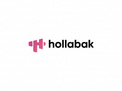 Hollabak Rejected Logo megaphone gradient pink hair stylist hair app icon app logo branding design