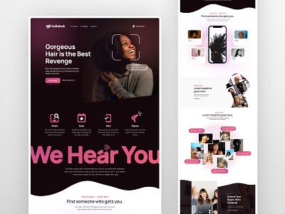 Hollabak Website V1 female megaphone stylist hair ux ui website web branding design