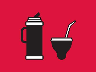 Mate Icons (Dingmats®) Postcards red print editorial design logo design icons yerba yerba mate postcard