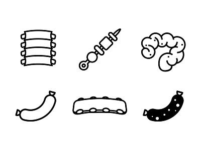 Asadicons argentina uruguay meat asado icons set icons