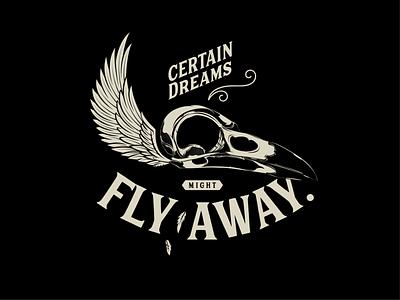 Fly Away crest illustration skulls logo design emblem black and white