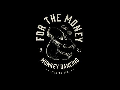 For The Money Monkey Dancing monkey logo design tshirt emblem emblem design black and white