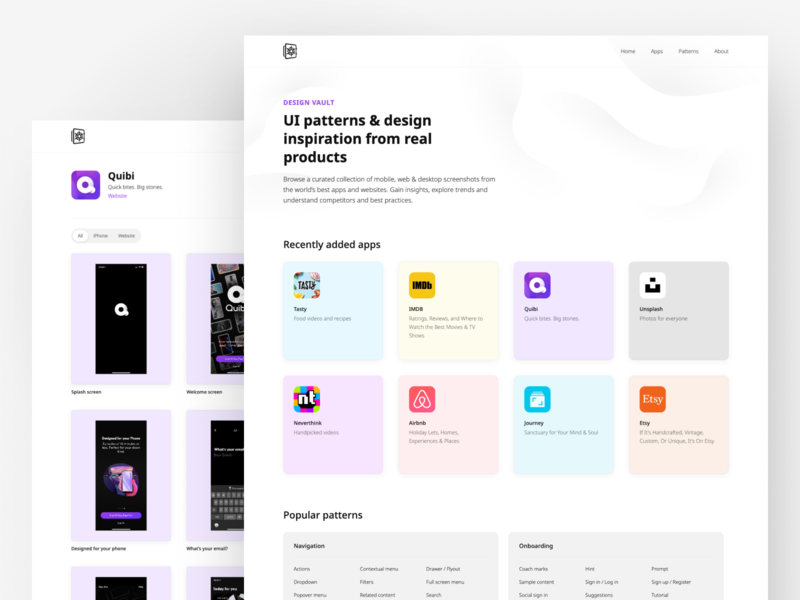 Design Vault landing product design desktop clean minimal tool resource website web interface uiux ux ui