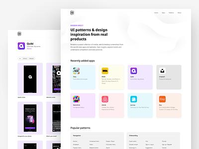 Design Vault landing product design desktop clean minimal tool resource website web interface uiux ux ui