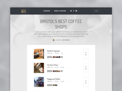 helloBRSTL collection page coffee local discover collection bristol