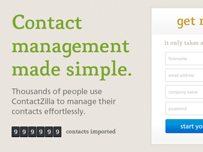 Landing page landing signup contactzilla counter