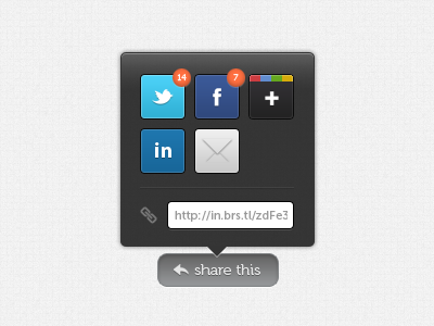 Share menu share social twitter facebook google popover